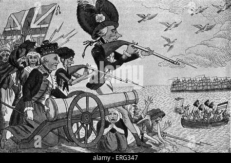 Napoleon 's planned invasion of England.  Contemporary caricature showing British troops firing on French revolutionaries - Stock Photo