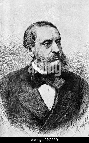 Franz von Dingelstedt. German poet, journalist and director of the Vienna Burgtheater. 30 June 1814 - 15 May 1881. - Stock Photo