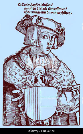 Charles V as a youth. Charles V Holy Roman emperor 24 February 1500 - 21 September 1558. Contemporary woodcut. Tinted - Stock Photo