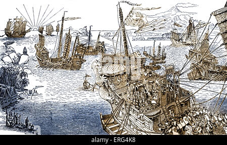 Marco Polo's ship.  Engraving from 'The Book of Ser Marco Polo', c. 1299.  MP Italian merchant and explorer 1254 - Stock Photo