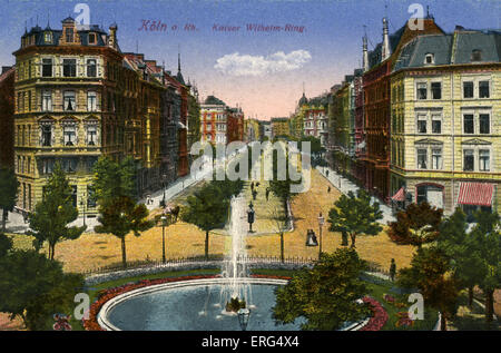 Cologne, Germany, early 20th century. Kaiser Wilhelm-Ring. Postcard. - Stock Photo