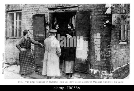 German Occupation on the Eastern Front  in World War I. From photograph of German soldiers visiting a local tearoom. - Stock Photo