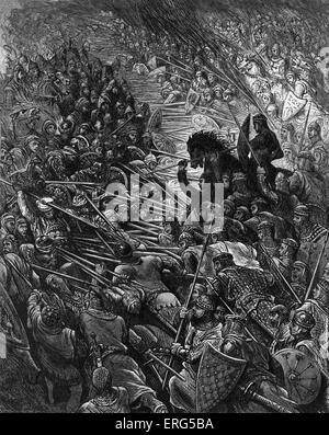 ' Orlando Furioso '  by Ludovico Ariosto, illustrator Gustave Doré (1832-1883) The clamour of the battle brings - Stock Photo
