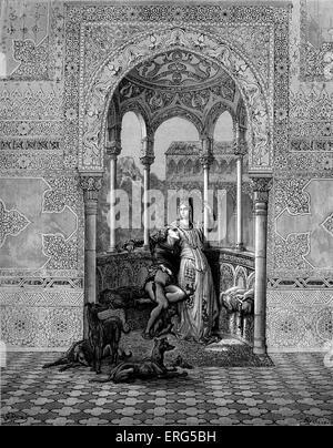 ' Orlando Furioso '  by Ludovico Ariosto, illustrator Gustave Doré (1832-1883) Fiordispina and Bradamante. Canto - Stock Photo