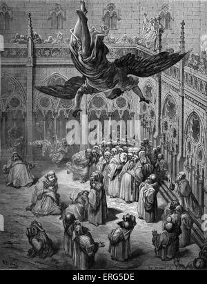 ' Orlando Furioso '  by Ludovico Ariosto, illustrator Gustave Doré (1832-1883). Caption reads, ' L'angel Michele - Stock Photo