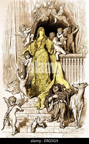 ' Orlando Furioso '  by Ludovico Ariosto,  illustrator Gustave Doré (1832-1883).  Canto Settimo: Stanza 11. (Seventh - Stock Photo