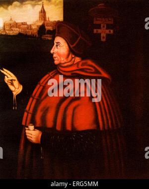 Thomas Wolsey, English statesman and a cardinal of the Roman Catholic Church, 1471 or 1475 ? – 29 November 1530.  Oil painting