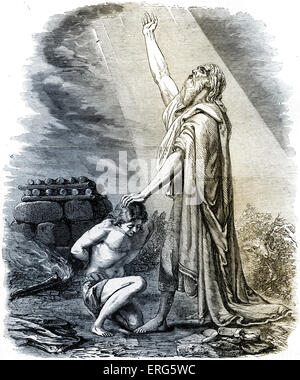 Abraham willing to sacrifice Isaac as burned offering in response to God's command.   Genesis, chapter XXII.Tinted - Stock Photo