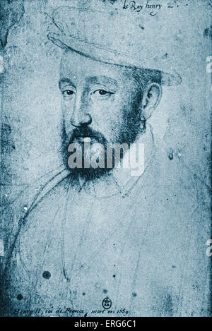 Henry Henri  II  -  King of France, portrait engraving. French nobleman 31 March 1519 - 10 July 1559.  Patron of - Stock Photo