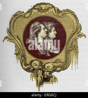 King Louis XVI - profile portrait with his wife Queen Marie-Antoinette and their son the Dauphin.  French monarch. - Stock Photo