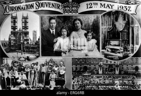 Coronation Souvenir of the Royal Family, 1937. Coronation Souvenir postcard, 12 May 1937. Shows King George VI and - Stock Photo