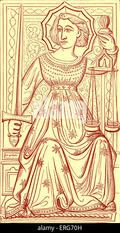 Justice tarot card, reproduced from a deck said to have belonged to Charles VI, King of France. It is numbered VIII - Stock Photo