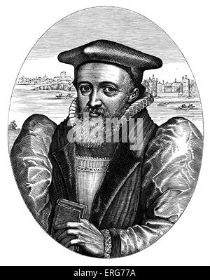 George Abbot, Archbishop of Canterbury, reproduced from the 1616 original engraving by Simon Pass. Lambeth can be - Stock Photo