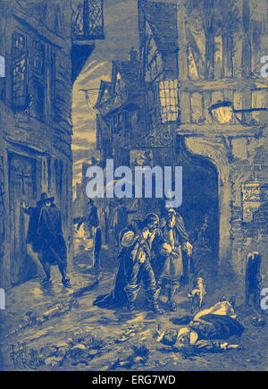 The Great Plague - scene from the streets of London, 1665. - Stock Photo