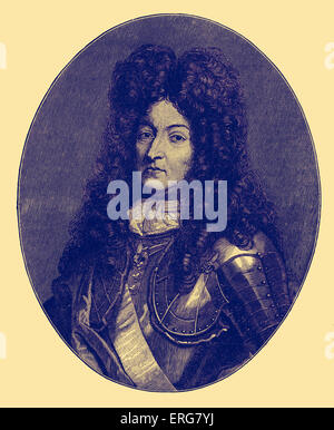 Louis XIV of France, portrait. Known as the Sun King (le Roi Soleil), reigned from 1643 to his death in 1715.  B. - Stock Photo