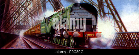 No. 10 000 Train of London and North Eastern Railway (LNER) by A.H. Browne. Steam engine hauling train across the - Stock Photo