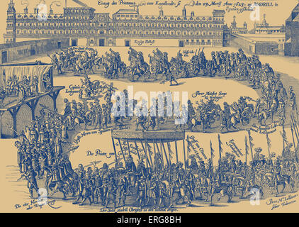 Entry of Prince Charles into Madrid, 1623, taken from a 19th century German print. Charles, Prince of Wales, later - Stock Photo