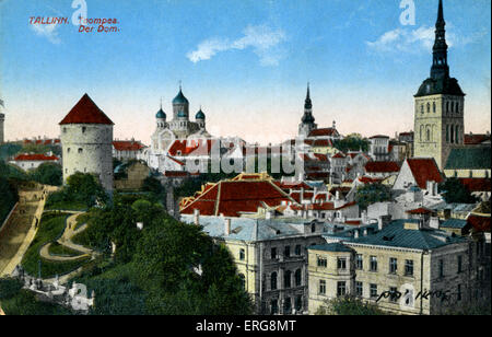 Toompea/ Cathedral Hill, Tallinn, Estonia.  Early 20th century. Today centre of government and Riigikogu (parliament). - Stock Photo