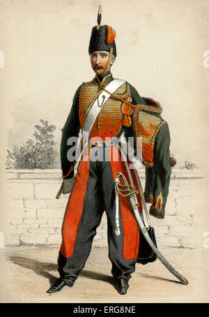 Hussard: a member of 19th century light cavalry in  the French Army - here on foot. Hussars belonged to elite troops - Stock Photo