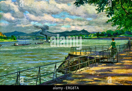 Bonn, Germany - view over the Rhine.  After painting by Karl Nonn. - Stock Photo