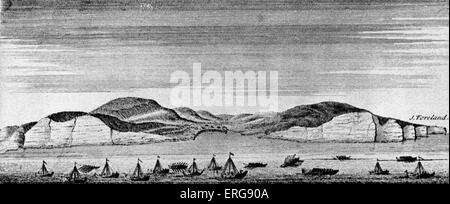 The appearance of Dover at the time of Caesar's Landing. During his Gallic Wars, Julius Caesar invaded Britain twice, - Stock Photo