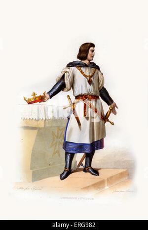 Philip II Augustus. King of France between 1180-1223. 1165-1223. Engraving by Lorichon, c.1844. - Stock Photo