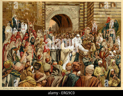 Young man, I say unto thee, Arise - St Luke , Chapter 7.  Illustrated by J James Tissot. French painter 15 October - Stock Photo