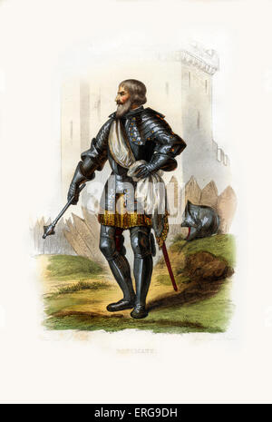 Boucicaut, alias Jean II Le Maingre.Marshal of France and a knight renowned for his military skill. 1366-1421. Engraving - Stock Photo