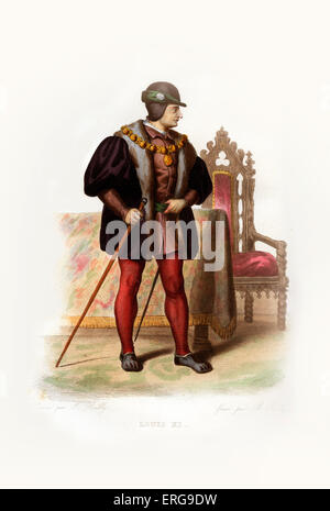 Louis XI of France called the Prudent and the Spider King. King of France between 1461-1483. 1423-1483. Engraving - Stock Photo