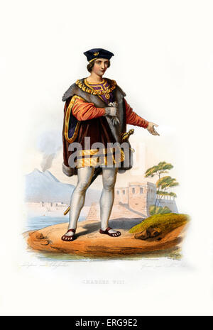 Charles VIII of France. King of France (1483- 1498). 1470-1498. Engraving by Mme de Ethiou, c.1846 - Stock Photo