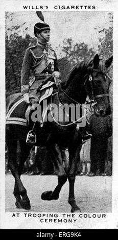 King George VI (then Duke of York) at Trooping the Colour ceremony, 4 June 1932. From commemorative coronation album, - Stock Photo
