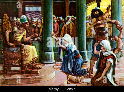 The Wisdom of Solomon  - after J James Tissot. Illustration of Book of Kings I, 3.27 : 'Then the king answered and - Stock Photo