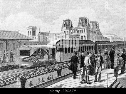 First electric train of the New York subway 19th century. 1885. - Stock Photo