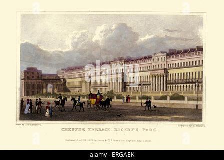 London Views:  Chester Terrace, Regent's Park.  Drawn by Thomas Hosmer Shepherd 1792 – 1864. Engraved by H. Melvelle. - Stock Photo