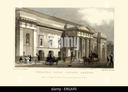 London Views: Theatre Royal, Covent Garden. Drawn by Thomas Hosmer Shepherd 1792 – 1864. Engraved byJohn Rolph. - Stock Photo