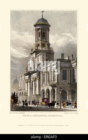London Views:  Royal Exchange, Cornhill. Drawn by Thomas Hosmer Shepherd 1792 – 1864. Engraved by J Tingle. Published - Stock Photo