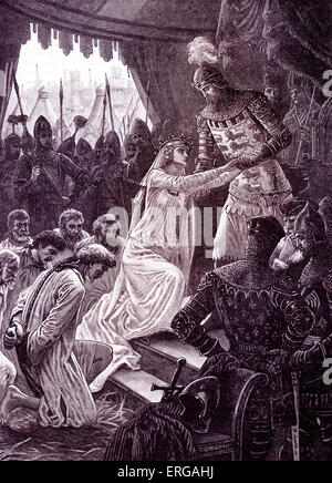 'Queen Philippa interceding for the Burghers of Calais'.  Philippa of Hainault, Queen Consort to Edward III, persuaded - Stock Photo