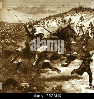 Battle of Humbleton Hill - Scottish charge. 14 September 1402, Nortumberland. Scottish army, led by Archibald, Earl - Stock Photo