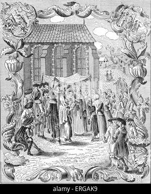 Jewish wedding ceremony under marriage canopy (huppah, chuppah, chuppa) amongst the German (Ashkenazi ) Jews.Published - Stock Photo