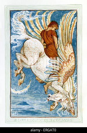 Bellerophon riding Pegasus. Retelling of Greek Myths by Nathaniel Hawthorne (1804 – 1864). Illustrations by Walter - Stock Photo