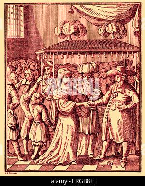 Jewish wedding ceremony under marriage canopy (huppah, chuppah, chuppa) amongst the Dutch (Sephardi ) Jews.  Utrecht - Stock Photo