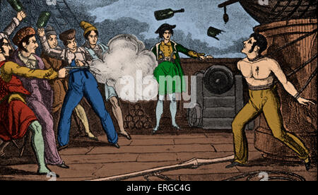 'Pirates Killing a Captured Man', print. Pirates shoot and throw bottles at a captured man tied up with ropes to - Stock Photo