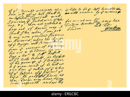Autograph: Letter from William Penn to Colonel Henry Sydney, envoy at the Hague, discussing the mutability and corruption - Stock Photo