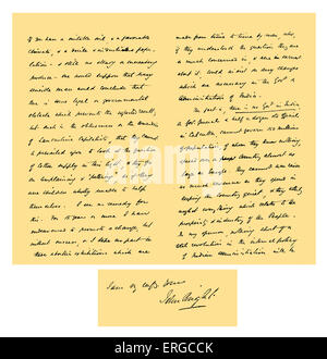 Autograph: Letter from John Bright to Colonel Rathbone, giving his views upon the political capacity of Manchester - Stock Photo