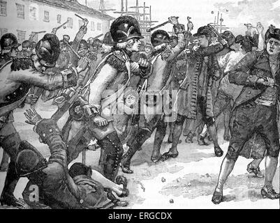 Affray between soldiers and rope-makers, Boston, America, March 1770. Began after a rope-maker insulted a soldier - Stock Photo