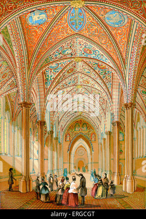 The interior of the Temple Church, a late 12th century church in London, with a group of visitors. - Stock Photo