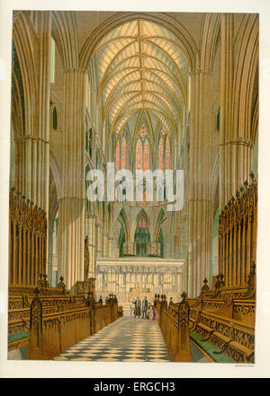 The Choir (Quire) - Westminster Abbey, London. 19th century design by Edward Blore in Victorian Gothic style.  The - Stock Photo