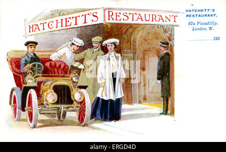 Advertisement for Hatchett's Restaurant, London. 67a Piccadilly. Shows two women and a man entering Hatchett's Restaurant. - Stock Photo