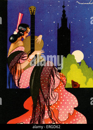 Young Spanish woman in traditional dress playing a classical guitar. Behind her is a full moon and the silhouette - Stock Photo