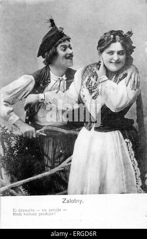 A courting couple in Polish dress. Caption reads: 'Flirting. Hey sweetheart, stop joking around - you know you loved - Stock Photo